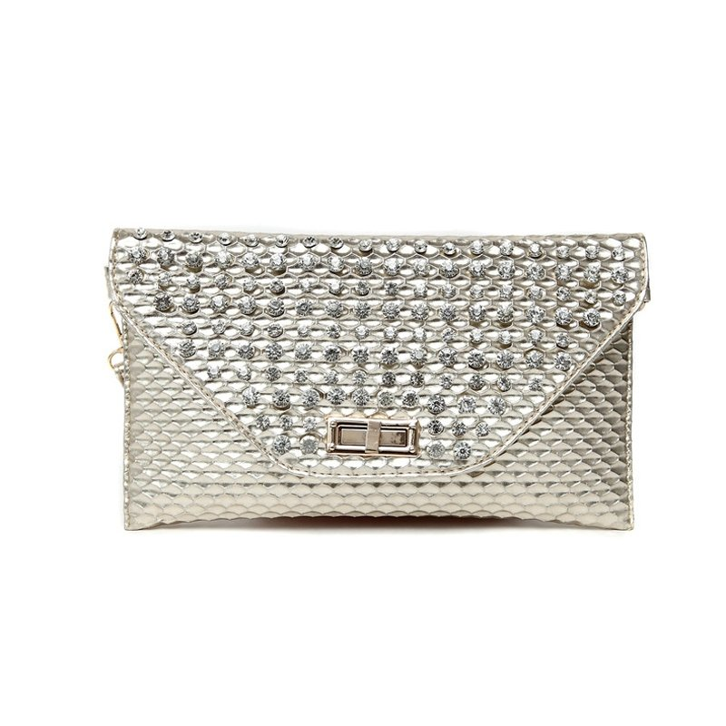 Personalized Gold Patent Leather Rhinestone Studded Envelope Evening Clutch Stylish Embossed Snakeskin Women Flap Crossbody Shoulder Bag