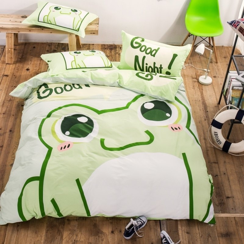 Green and White Frog Print Cartoon Animal Themed Shabby Chic Unique 100% Cotton Twin, Full Size Bedding Sets for Kids | Boys | Girls