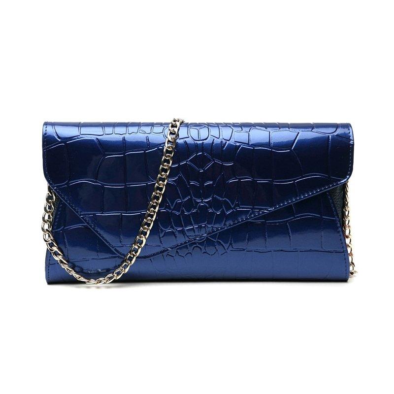 Royal Blue Cowhide Leather Embossed Crocodile Lady Envelope Evening Clutch Hipster Magnetic Buckle Chain Strap Flap Crossbody Shoulder Bag