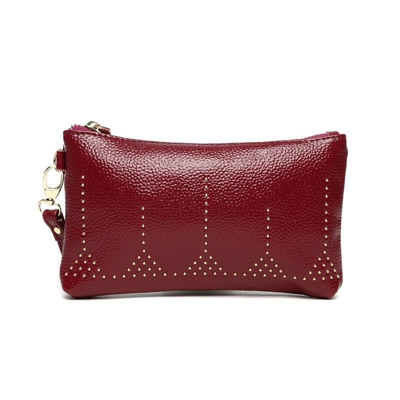 Burgundy Red Distressed Genuine Cowhide Leather Lady Evening Party Clutch Wallet Stylish Rivet Studded Small Coin Purse Wristlet