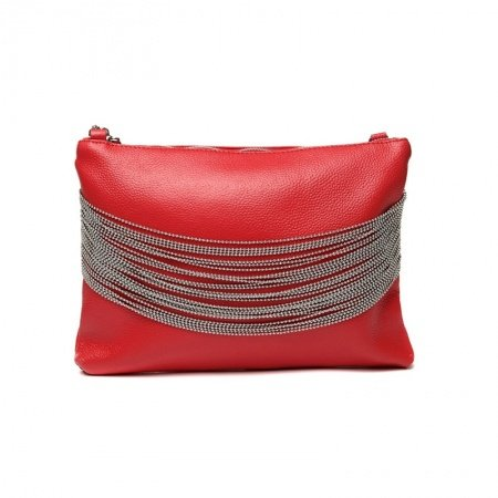 Hipster Coral Red Genuine Cowhide Leather Tassel Lady Evening Clutch Personalized Sewing Pattern Casual Party Crossbody Shoulder Bag