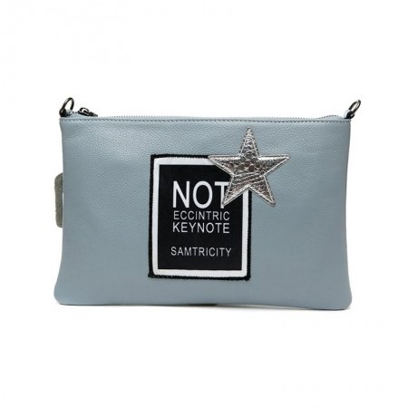 Dusty Blue Genuine Cowhide Leather Women Evening Party Envelope Clutch Wristlet Hipster Monogrammed Star Small Crossbody Shoulder Bag