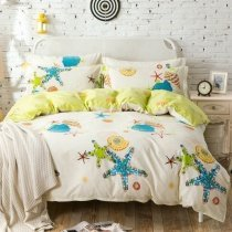 Turquoise Lime Yellow and Cream Starfish and Seashell Print Tropical Beach Themed Holiday Style 100% Cotton Twin, Full Size Bedding Sets