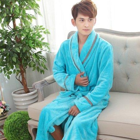 Lake Blue Flannel Bathrobe Night Robe Winter Pajamas for Boys M L XL XXL