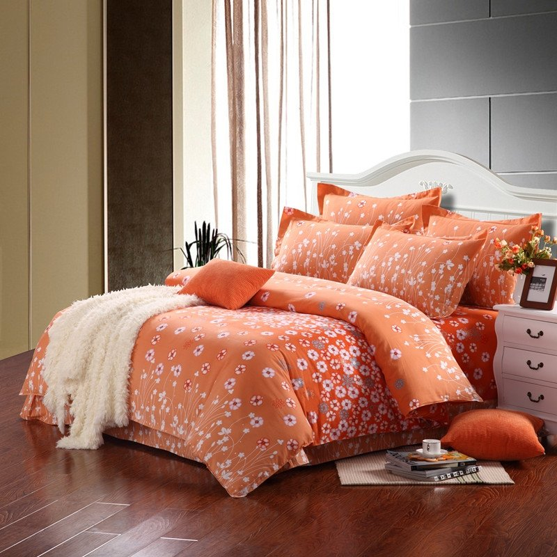 Light Orange and White Cute Abstract Modern Country Flower Print Full, Queen Size Bedding Sets