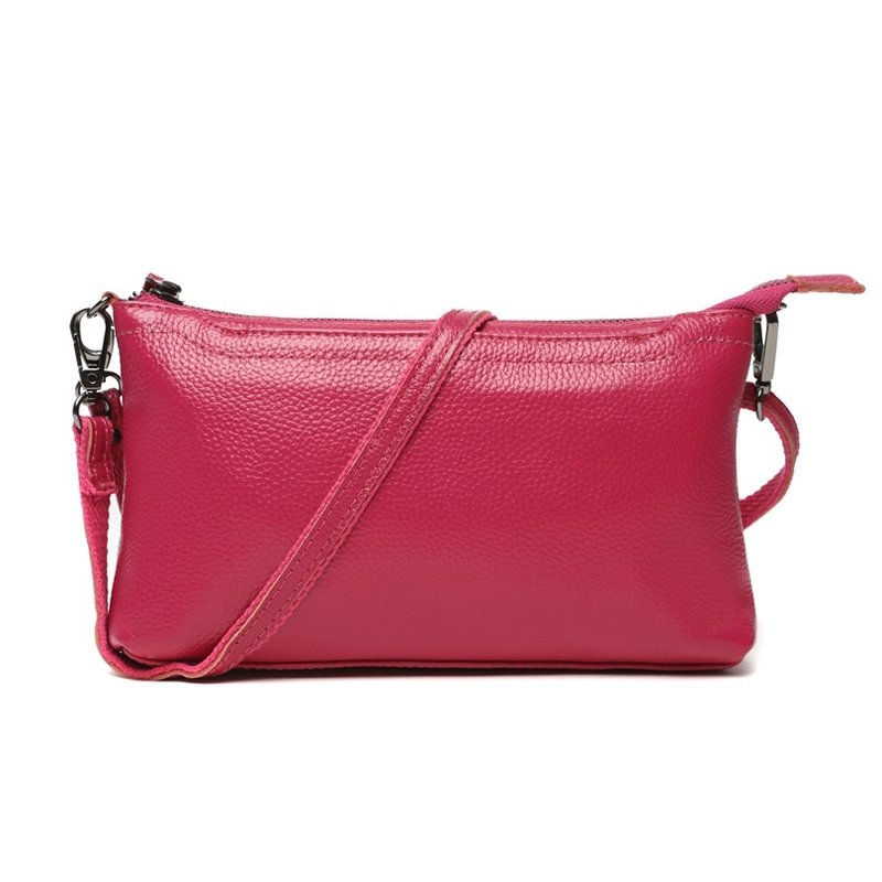 Durable Rose Red Genuine Cowhide Leather Feminine Women Evening Clutch Hipster Sewing Pattern Zipper Casual Party Crossbody Shoulder Bag