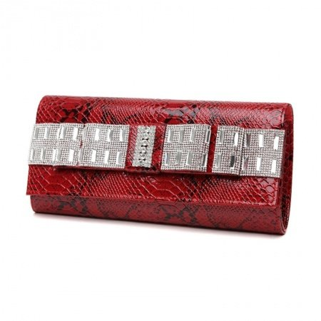 Cardinal Red Patent Leather Bling Rhinestone Flap Evening Clutch Gorgeous Embossed Crocodile Lady Casual Party Crossbody Shoulder Bag