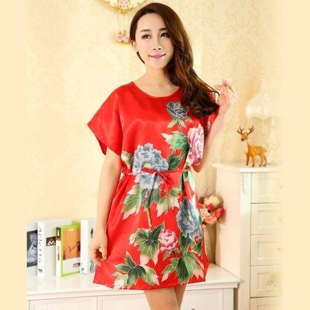 Red Peony Flower Print Sexy Elegant One Piece Dress Free Size Girls Pajamas