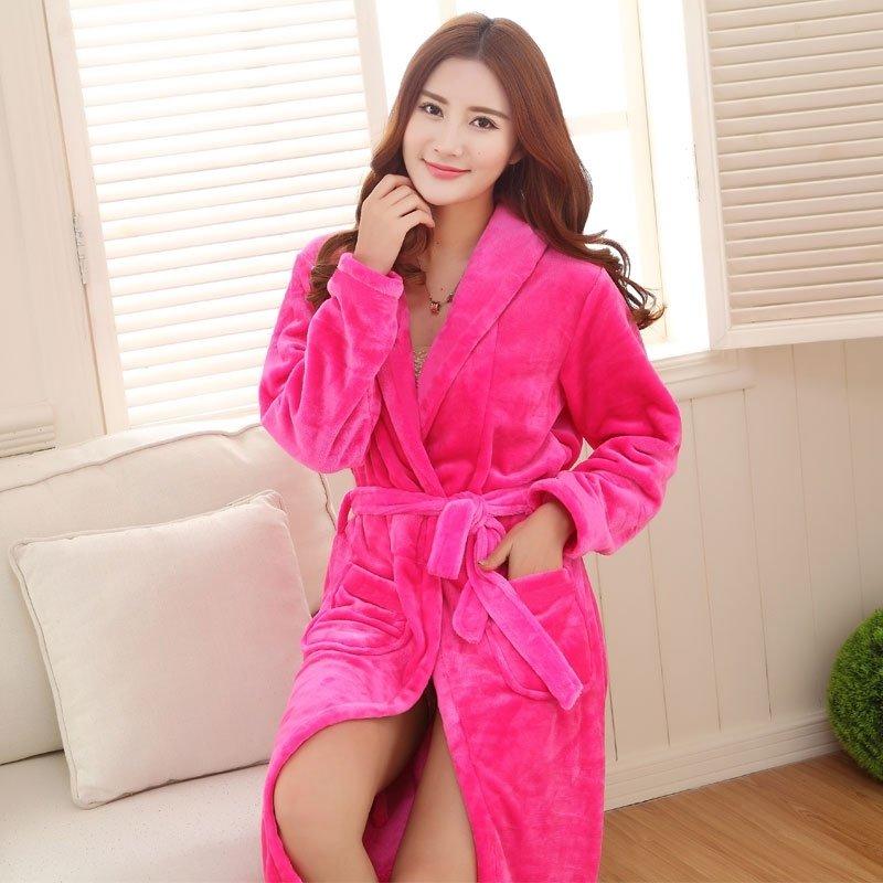 Solid Plum Flannel Wide-Lapel Long Sleeve Waist Tie Bathrobe Night Robe Free Size Pajamas for Women