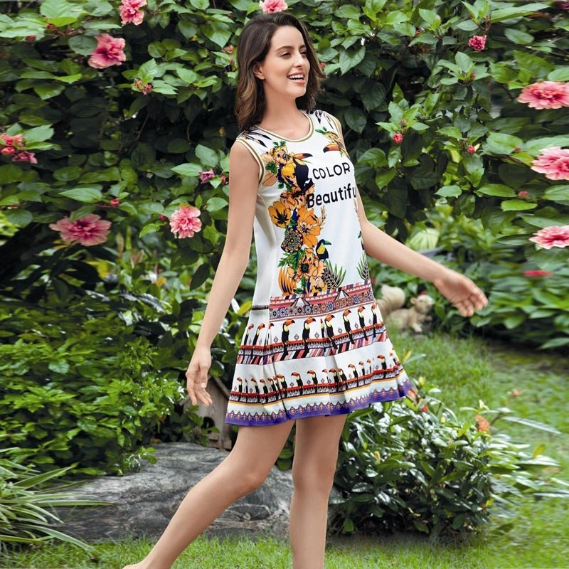 Flower Print Tribe Style Sleeveless Summer Dress Cotton Pajamas for Girls M L XL