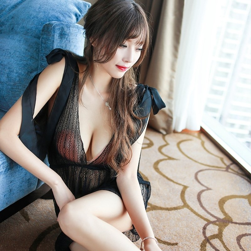 Black Bud Silk Deep V Backless Halter Top Nightdress Seductive Sexy Transparent Pajamas for Women