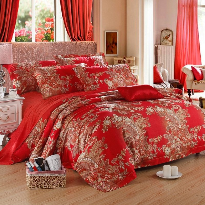 Red and Gold Wildflower Print Noble Excellence Reversible Luxury 100% Egyptian Cotton Full, Queen Size Bedding Sets