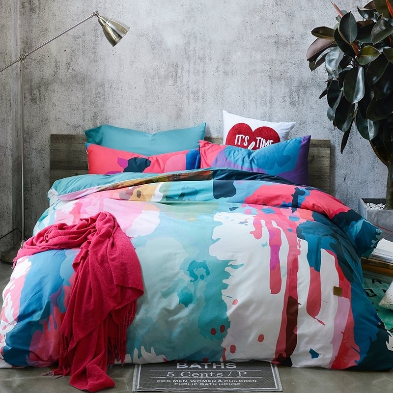 Rose Red Light Blue Deep Blue and White Painting Splatter Stylish Personalized 100% Egyptian Cotton Full, Queen Size Bedding Sets