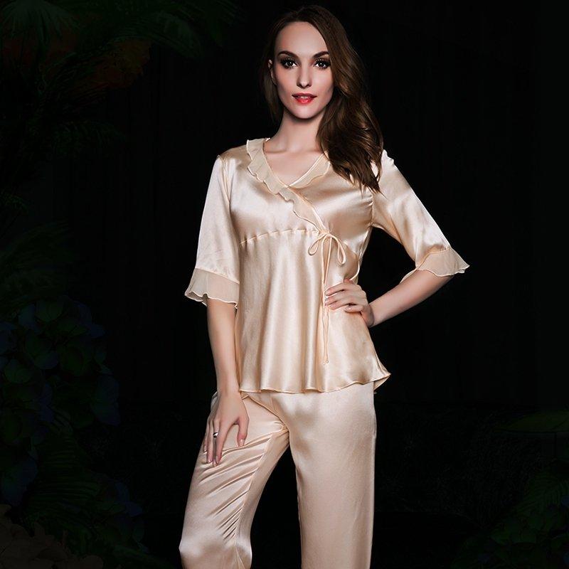 Beige 100% Pure Silk Falbala and Flouncing Romantic Elegant 2 Pieces Pajamas M L XL