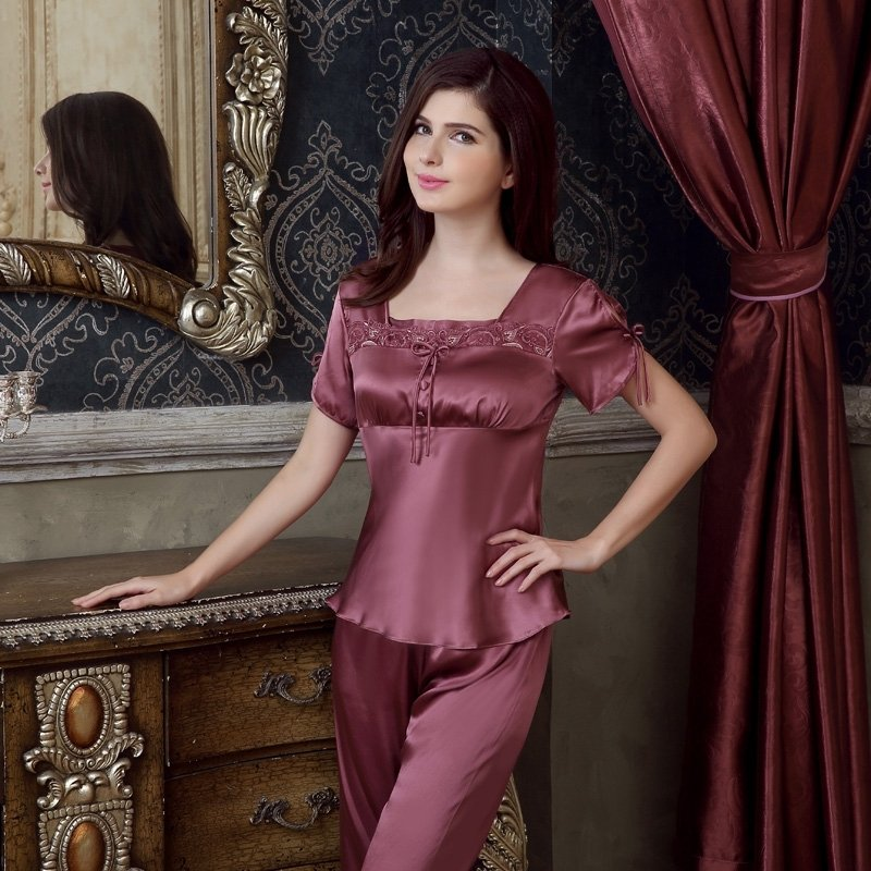 Mauve Taupe 100% Mulberry Silk Square-cut Collar Short Sleeve Shirt & Knee Length Pants Luxury Retro Chic Pajamas for Women M L XL XXL