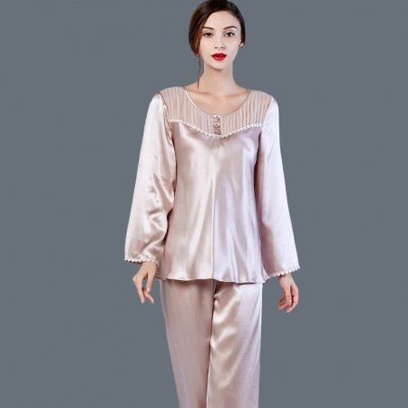 Platinum 100% Pure Silk Beaded Ruffled Conservative Spring Autumn Pajamas M L XL