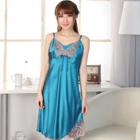 Diamond Blue 100% Nature Silk Spaghetti Strap Nightgown Funky Stylish Pajamas for Feminine Girly M L