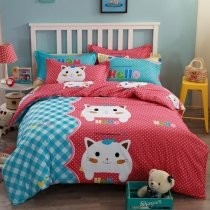 Cherry Red French Blue and White Funky Cat and Fish Print with Polka Dot and Plaid Preppy Style 100% Cotton Twin, Full Size Bedding Sets