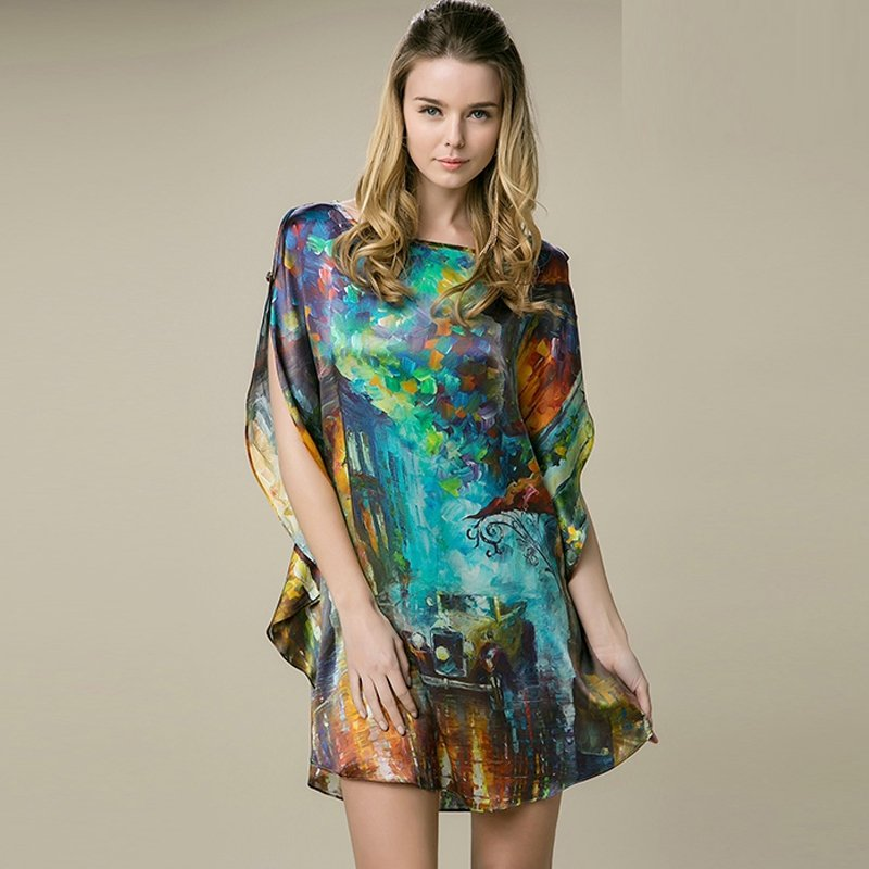 Green 100% Real Silk Chinese Style Oil Painting Batwing Sleeve Open Sleeve Midi Nightdress Free Size Pajamas for Women