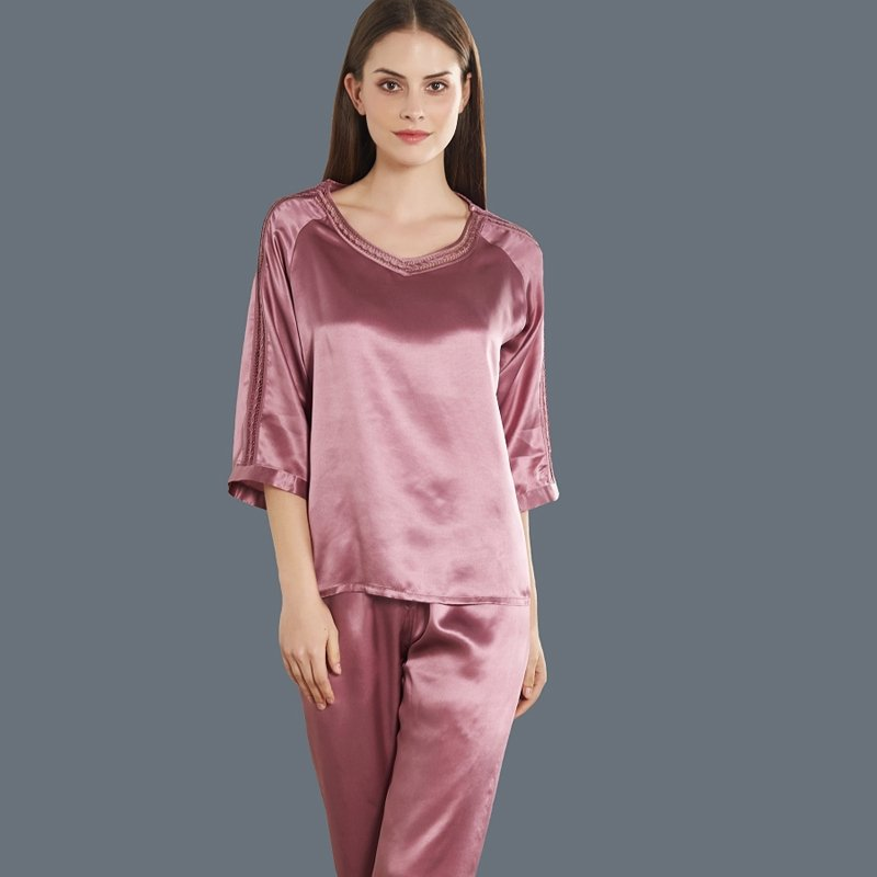 Brown Purple 100% Pure Silk Luxury 2pc Pajama Set for Women M L XL