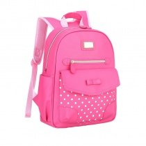 Rose Red Faux Leather Gold Sequin Bow Girls Flap School Backpack Cute Polka Dot Sewing Pattern Bottom Studded Pupil Campus Book Bag