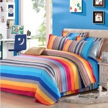 Girls Orange Purple Red Blue and Aqua Colorful Rainbow and Stripe Print Modern Chic Cute Style 100% Cotton Twin, Full Size Bedding Sets