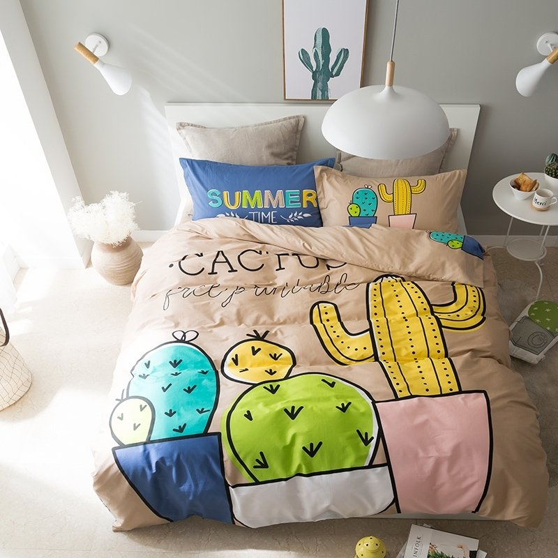 Kids Navy Blue Lime Green Yellow and Fallow Cactus Print Funny and Hipster Style 100% Cotton Twin, Full Size Bedding Sets