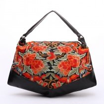 Durable Black Red and Green Cowhide Leather Women Dumpling-shaped Tote Vintage Embroidered Floral Sewing Pattern Handle Shoulder Bag