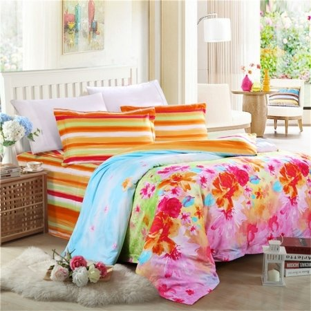 Pretty Girls Aqua Orange Hot Pink and Raspberry Red Flower Print Pastel Style 100% Cotton Full, Queen Size Bedding Sets