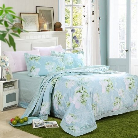 Magic Mint and White Tropical Flower Print Rustic Style Country Cottage 100% Organic Cotton Full, Queen Size Bedding Sets
