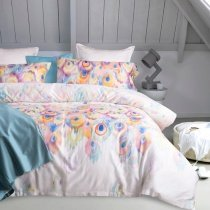 Ivory Blue and Pale Pink Peacock Feather Print Romantic High Fashion 100% Egyptian Cotton Full, Queen Size Bedding Sets