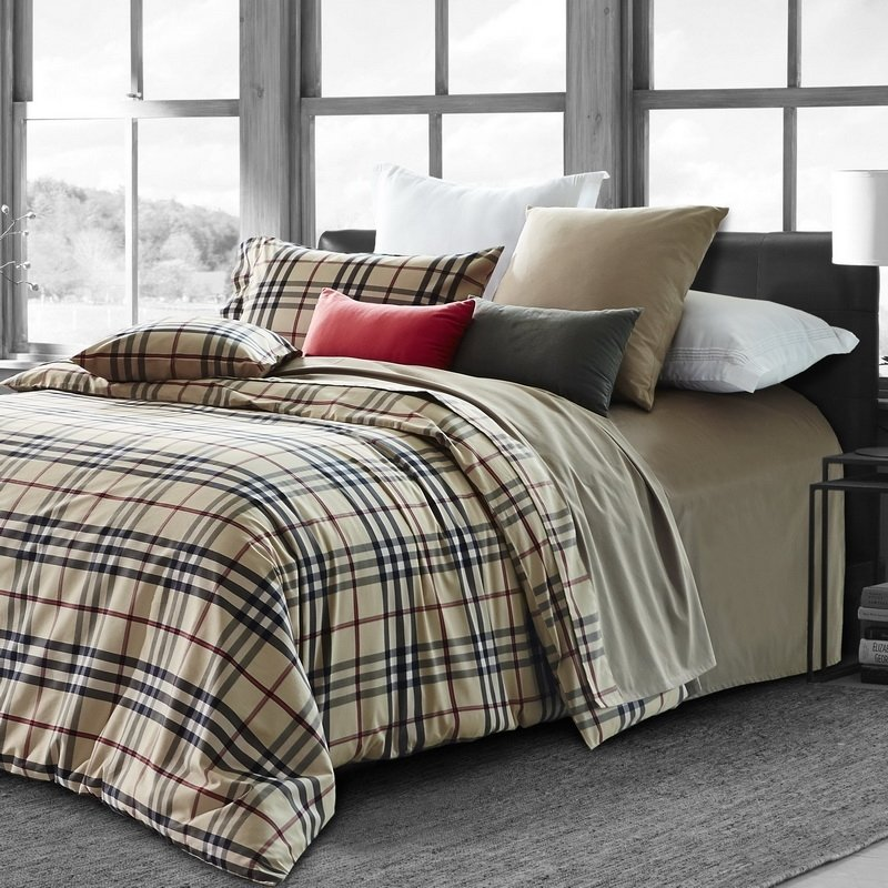 Black Beige and Maroon Brown Tattersall Plaid Print Traditional Preppy Style 100% Egyptian Cotton Full, Queen Size Bedding Sets