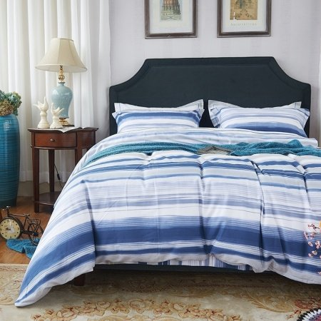 Navy Blue Silver Gray and White Pinstripe Print Masculine Style Shabby Chic 100% Brushed Cotton Full, Queen Size Bedding Sets