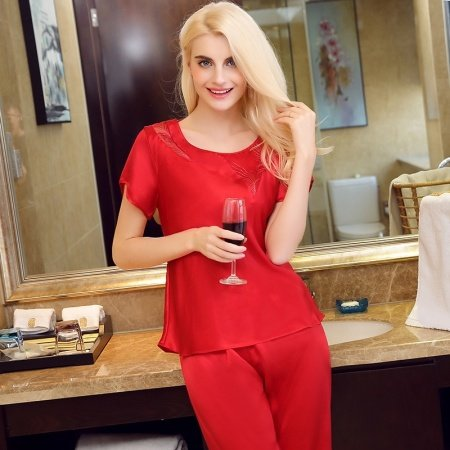 Red 100% Nature Silk 2 Pieces Short Pajamas for Feminine Girly M L XL XXL