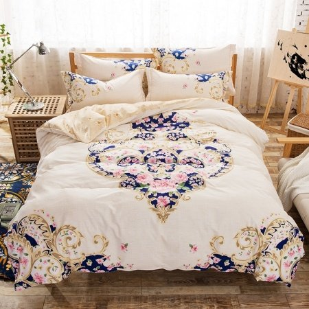 Beige Camel Pink And Royal Blue Rococo Pattern Abstract