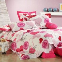 Girls Hot Pink Cherry Red and White Victorian Rose and Love Heart Romantic and Fashion Feminine Feel 100% Cotton Queen Size Bedding Sets