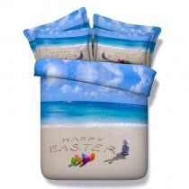 Navy Blue and Sand Colorful Egg and Rabbit Print Happy Easter Holiday Beach Themed 3D Design Twin, Full, Queen, King Size Bedding Sets
