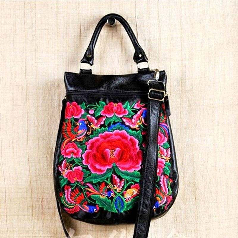 Upscale Black Genuine Cowhide Leather Women Large Tote Vintage Embroidered Red Teal Floral Casual Crossbody Shoulder Handle Bag