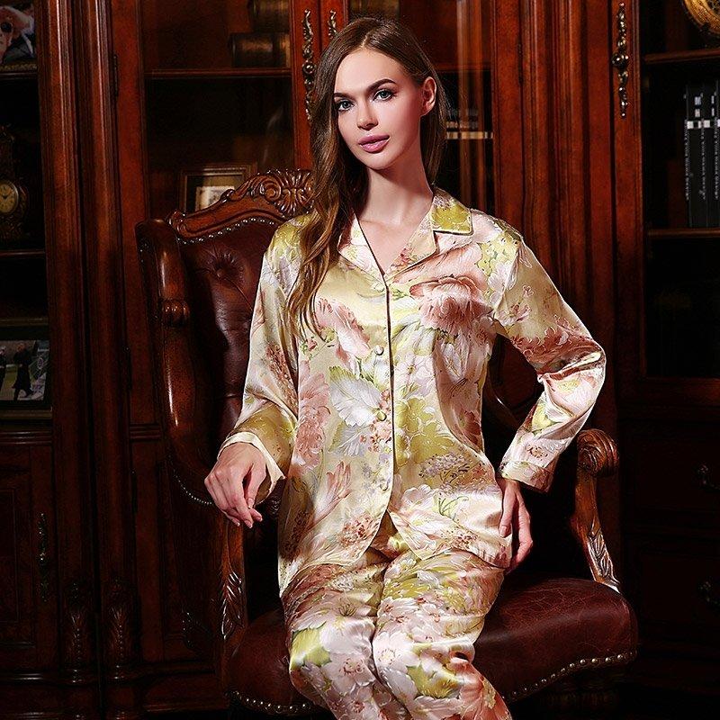 Tan 100% Pure Silk Flower Long T-Shirt and Pants Luxury Oriental Pajamas for Feminine Girly M L XL