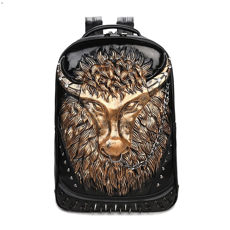 Black Leather Embossed Metallic Gold Buffalo Boys School Book Bag Punk Rock and Roll Style Spikes Rivet Studded Large Travel Backpack
