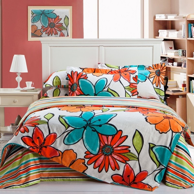 Venetian Red Orange Turquoise and White Tropical Flower Print Rustic Southwestern Style 100% Cotton Full, Queen Size Bedding Sets
