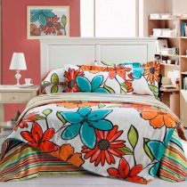 Venetian Red Orange Turquoise And White Tropical Flower Print Rustic Southwestern Style 100 Cotton Full