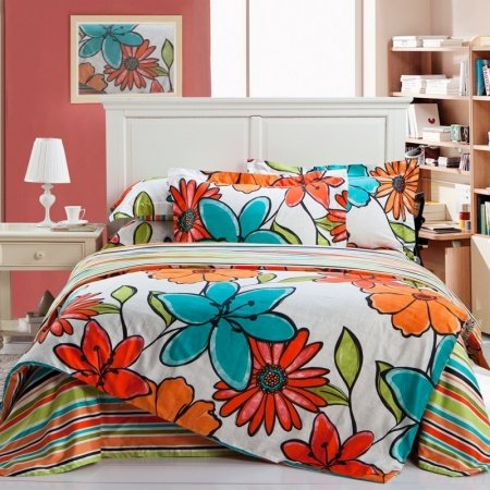 Venetian Red Orange Turquoise And White Tropical Flower