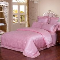 Elegant Girls Hot Pink Sexy Leopard Pattern Trendy Lace Design Upscale Jacquard Satin Full, Queen Size Bedding Sets