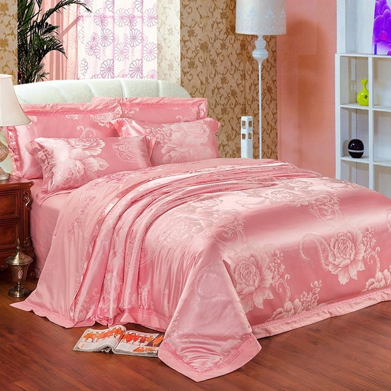 High Fashion Hot Pink Sparkly Flower and Paisley Pattern Elegant Girls Noble Excellence Jacquard Fabric Full, Queen Size Bedding Sets