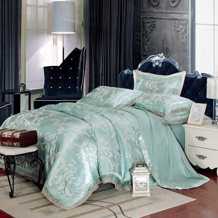Pale Blue and Silver Sparkle Scroll Pattern Abstract Design Luxury Lace Design Upscale Jacquard Satin Full, Queen Size Bedding Sets