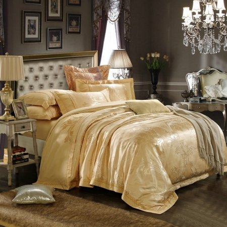 Classic Royal Gold Fern Leaf Pattern Antique Themed Sparkle Embroidered Design Luxury Jacquard Fabric Full, Queen Size Bedding Sets