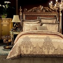 Luxury Old Gold and Taupe Gray Rococo Pattern Bohemian Chic Royal Style Jacquard Satin Fabric Full, Queen Size Bedding Sets