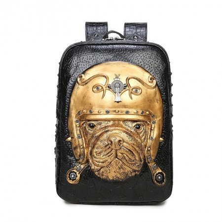 Personalized Metallic Gold Black Leather Cool Men Travel Laptop Backpack Punk Style Embossed Cross Dog Rivet Studded School Campus Book Bag