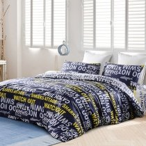 Teen Boys Dark Blue Yellow and Grey Shark and Monogrammed Print High Fashion 100% Cotton Twin, Full Size Bedding Sets